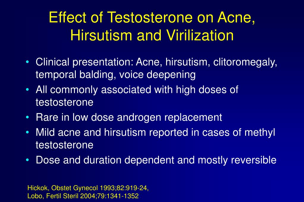 Effect of Testosterone on Acne, Hirsutism and Virilization
