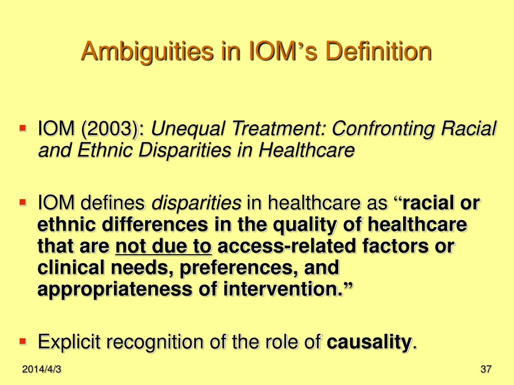 Ambiguities in IOM