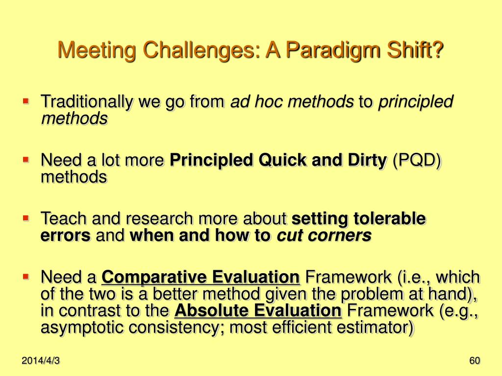 Meeting Challenges: A Paradigm Shift?