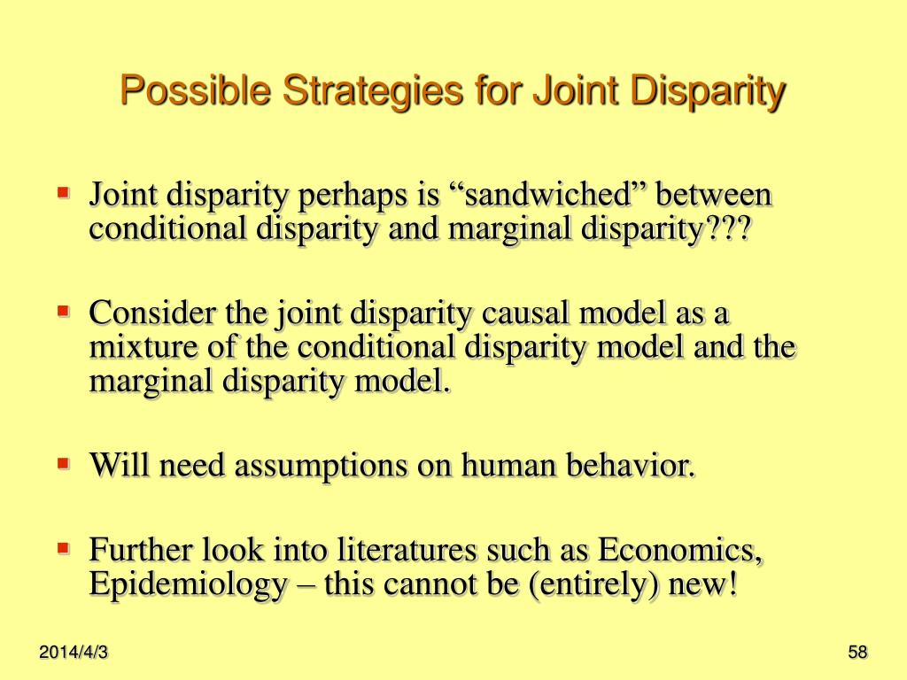 Possible Strategies for Joint Disparity