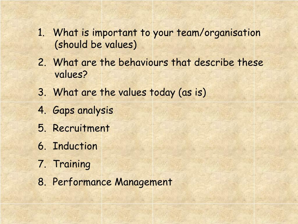 1.What is important to your team/organisation (should be values)