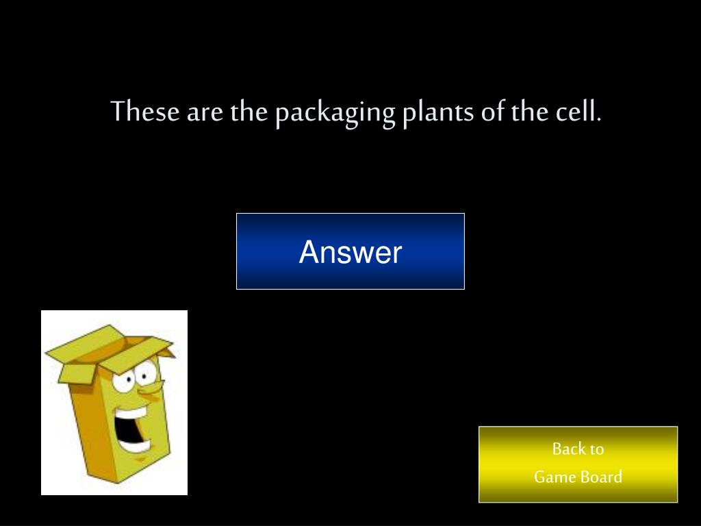 These are the packaging plants of the cell.