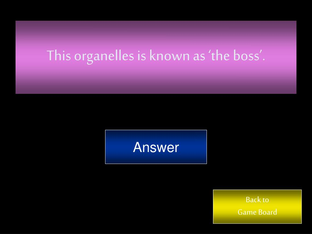 This organelles is known as 'the boss'.