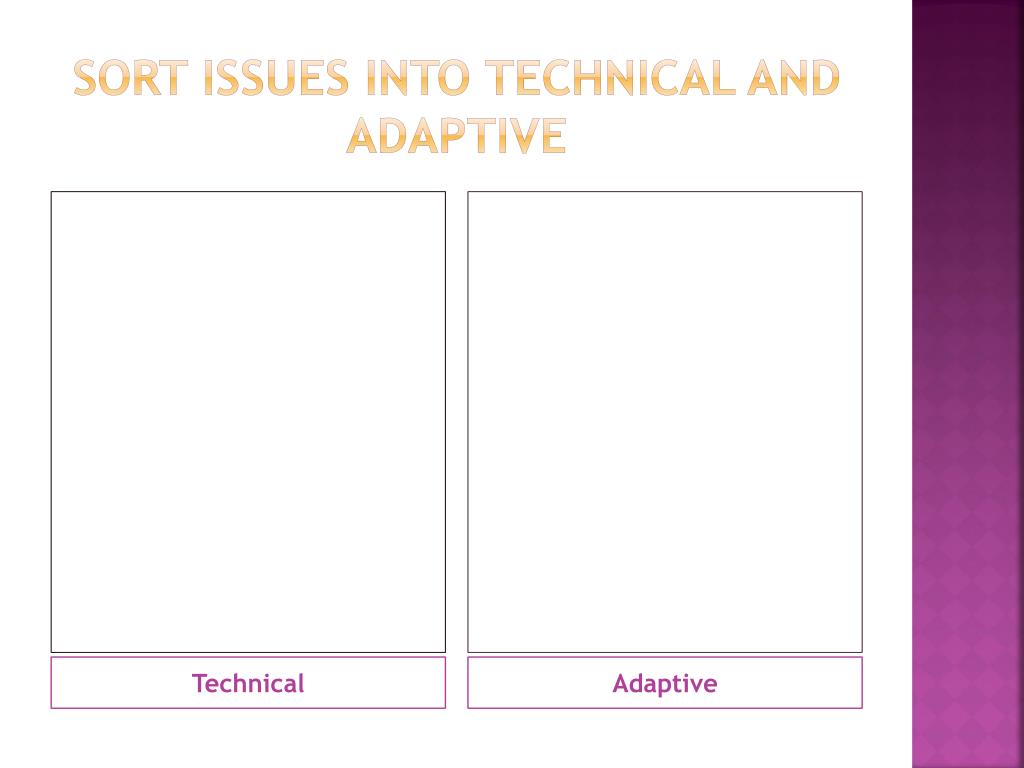 Sort issues into technical and adaptive