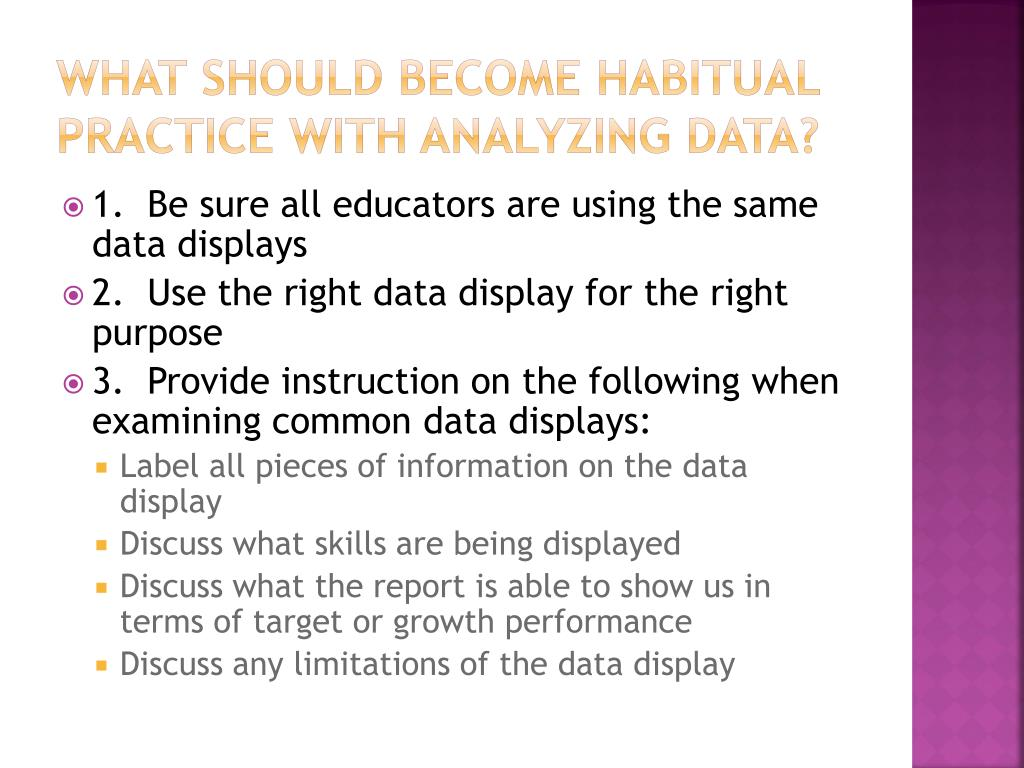 What should become habitual practice with analyzing data?