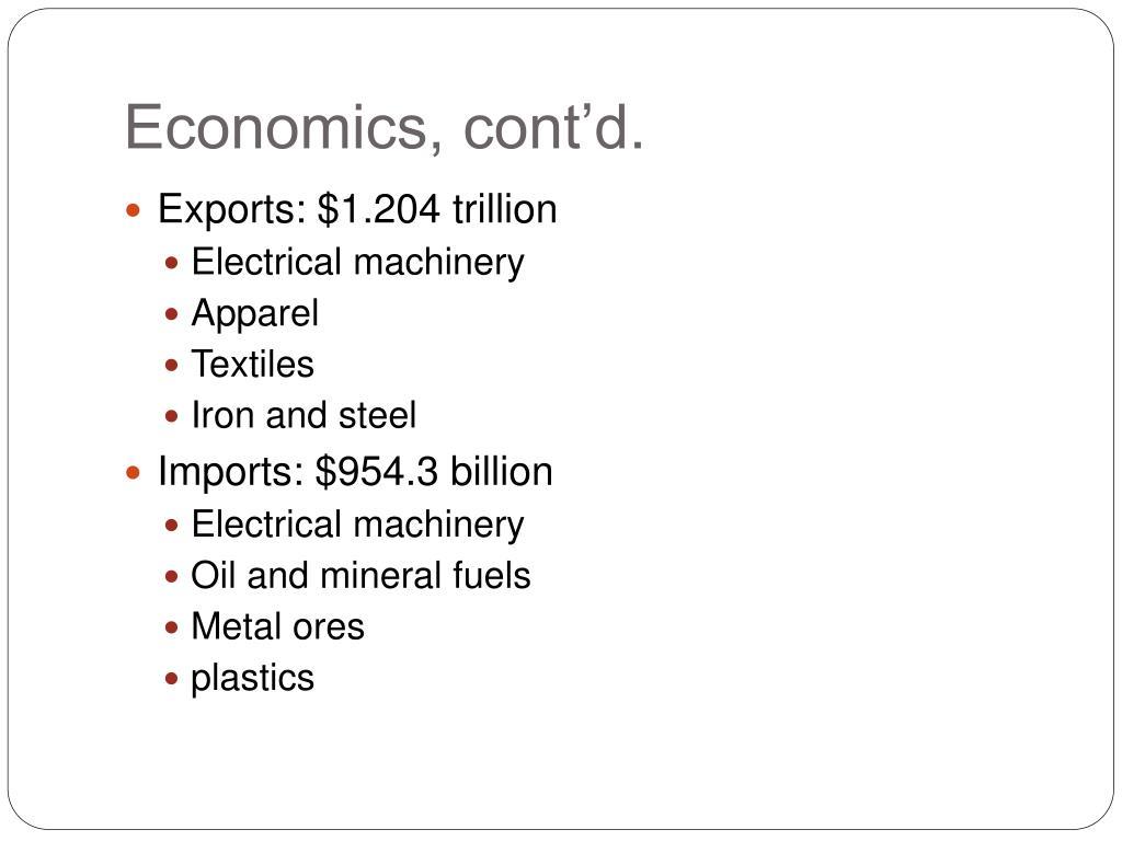 Economics, cont'd.