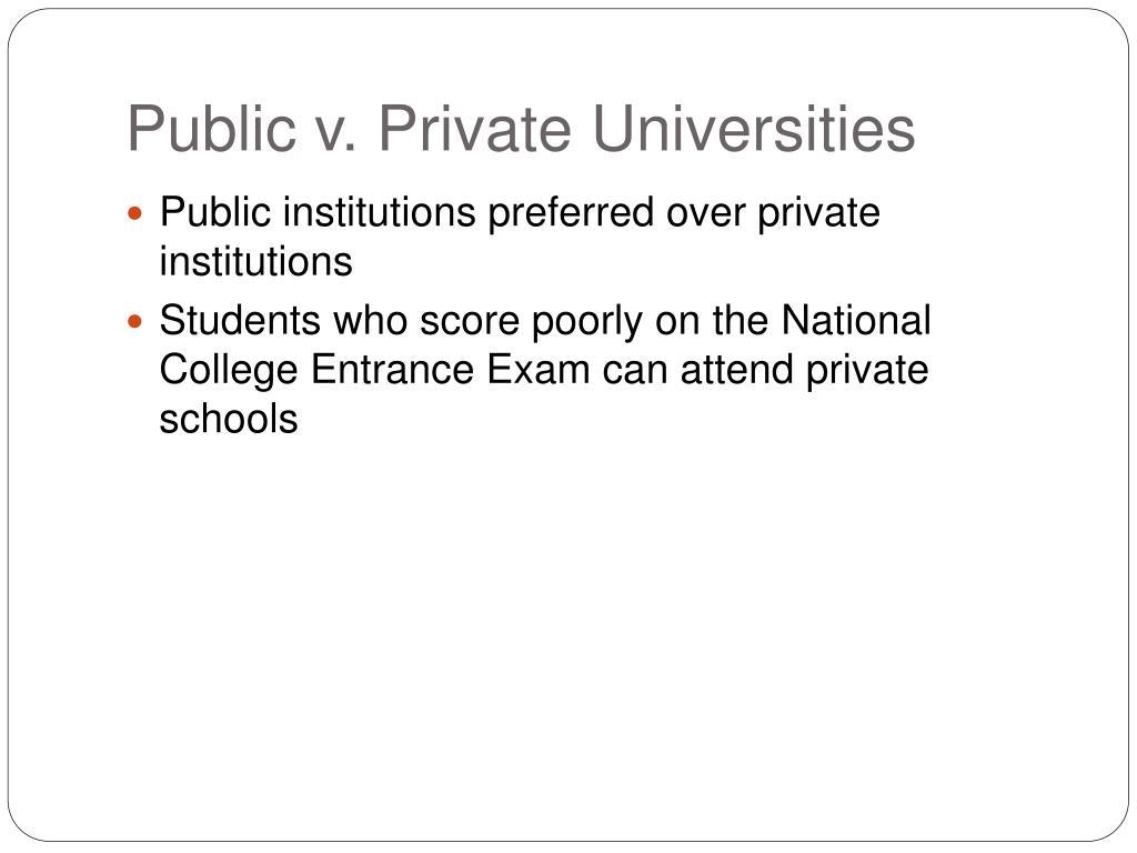 Public v. Private Universities