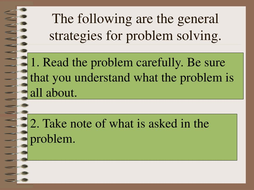 The following are the general strategies for problem solving.