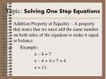 topic solving one step equations