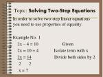topic solving two step equations