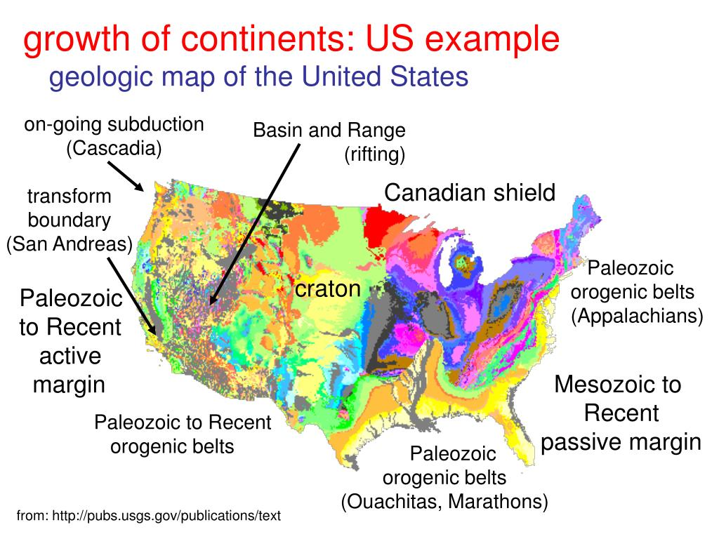 growth of continents: US example