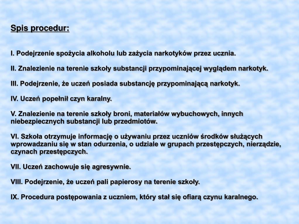 Spis procedur: