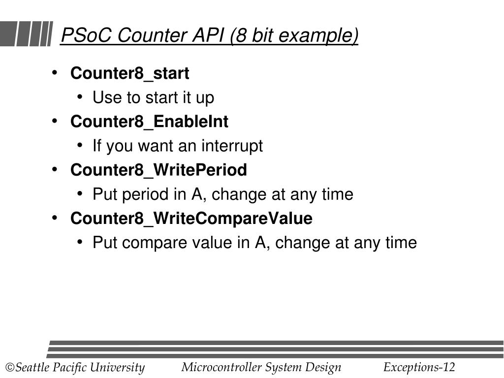 PSoC Counter API (8 bit example)