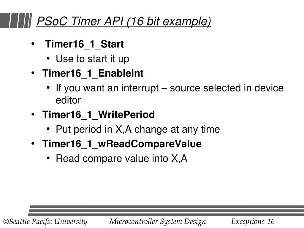 PSoC Timer API (16 bit example)