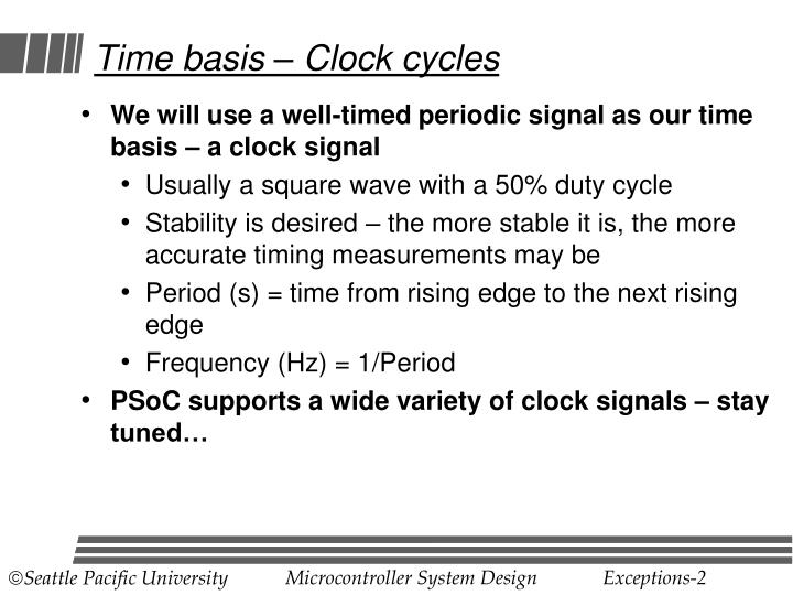 Time basis clock cycles