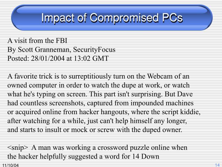 Impact of Compromised PCs