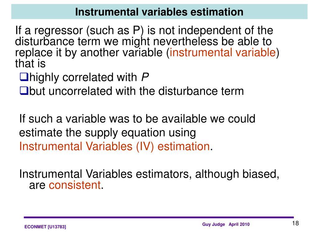 Instrumental variables estimation