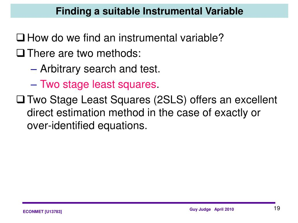 Finding a suitable Instrumental Variable