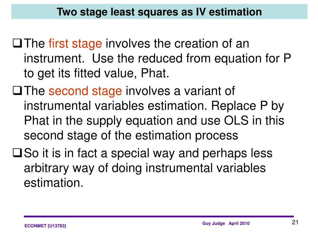 Two stage least squares as IV estimation