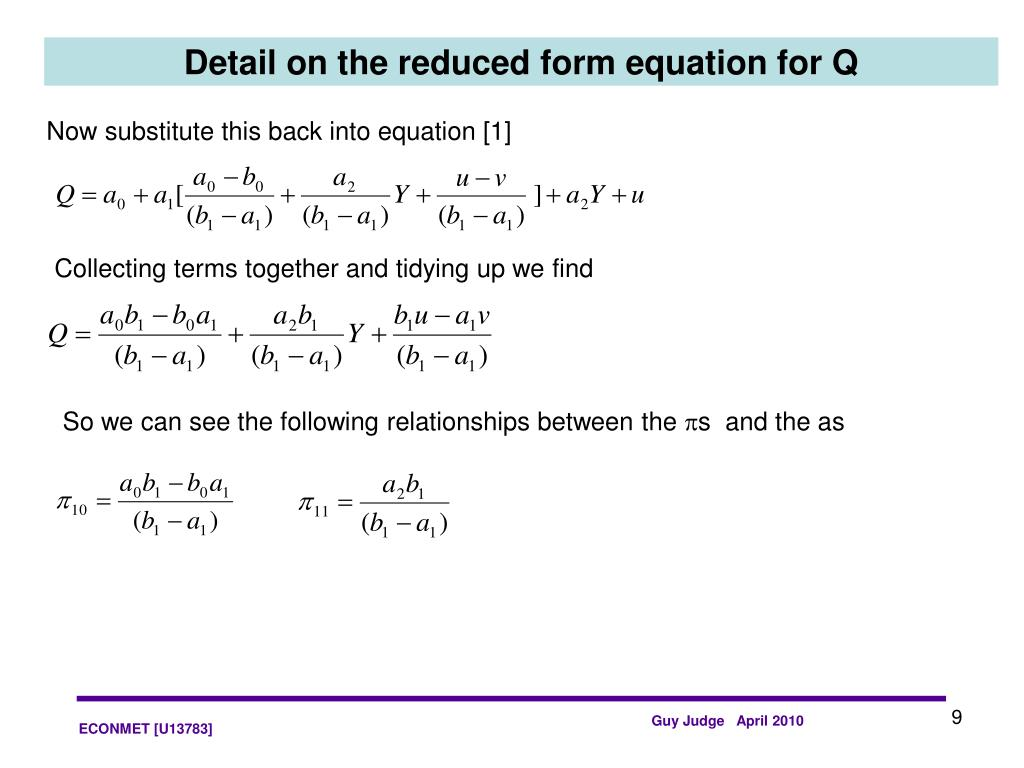 Detail on the reduced form equation for Q