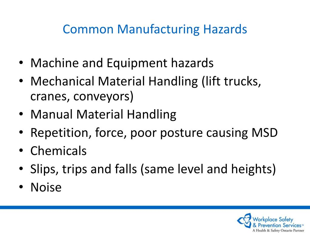 Common Manufacturing Hazards