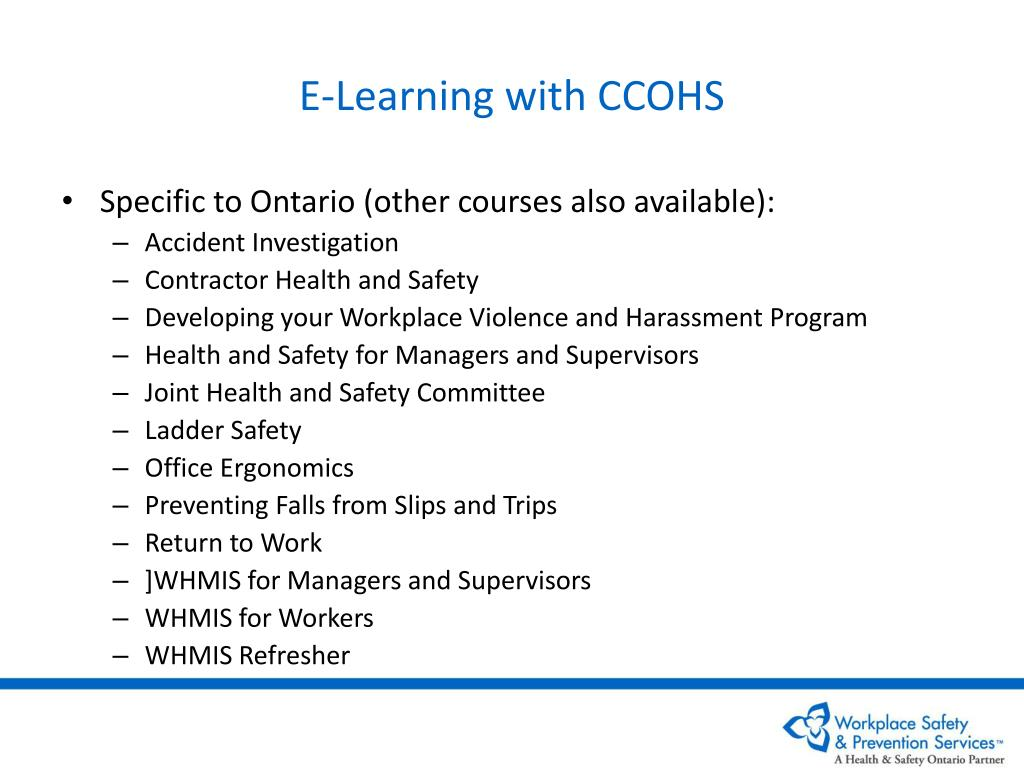 E-Learning with CCOHS