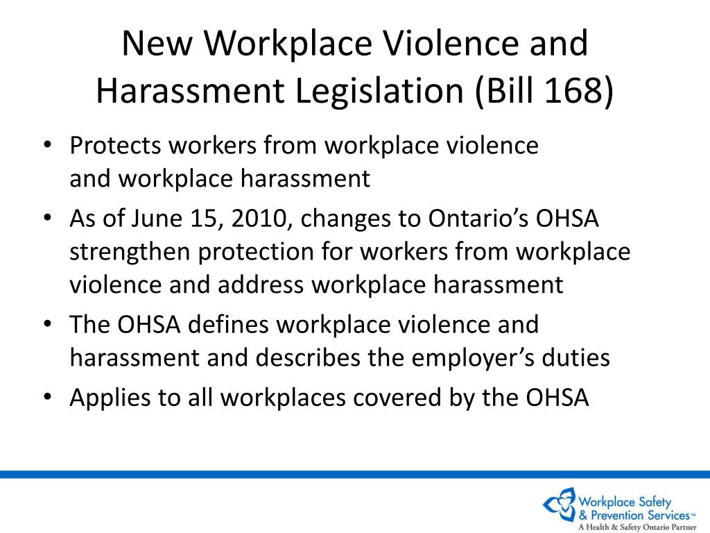 New Workplace Violence and Harassment Legislation (Bill 168)