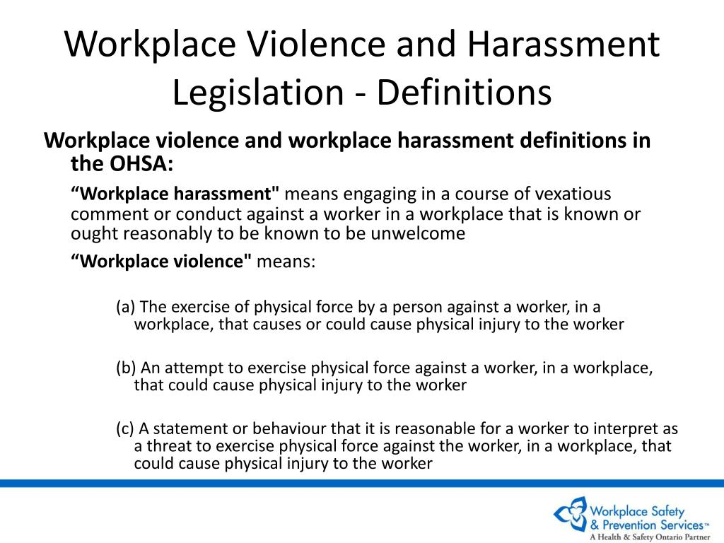 Workplace Violence and Harassment Legislation - Definitions