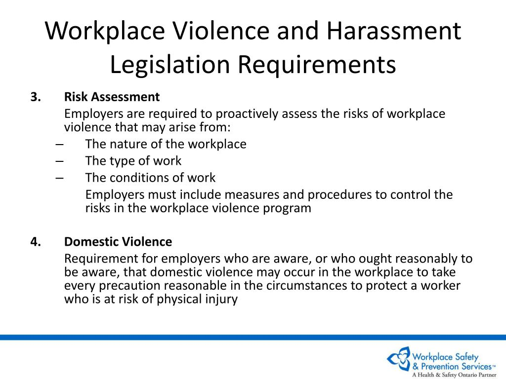 Workplace Violence and Harassment Legislation Requirements