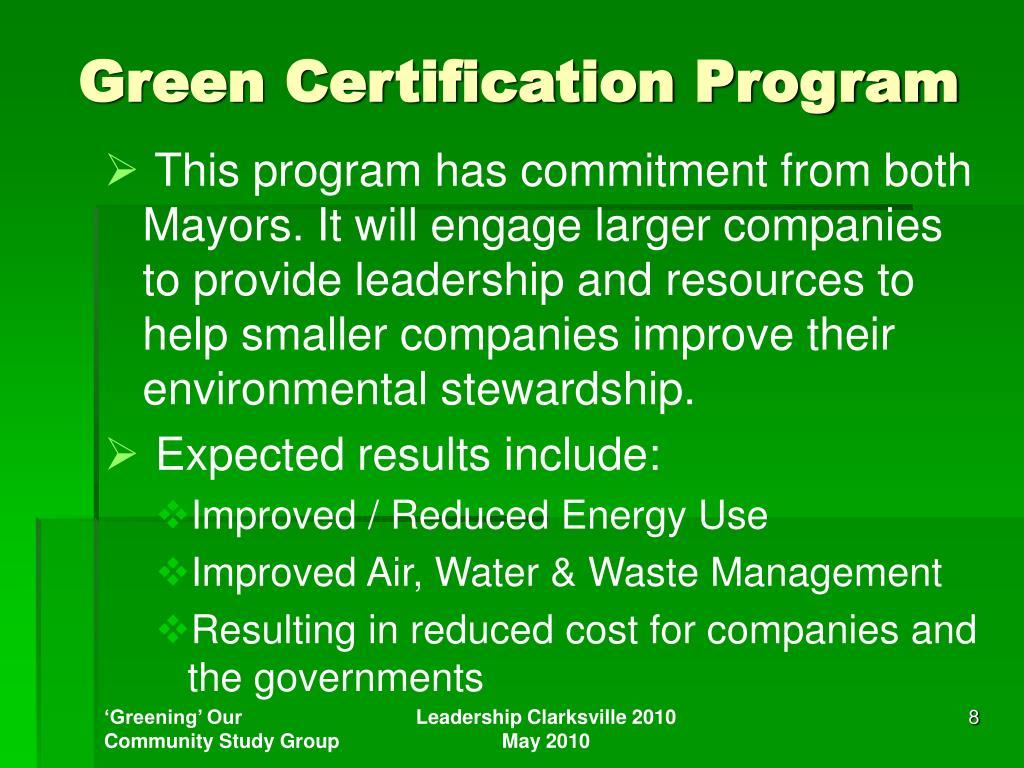 Green Certification Program