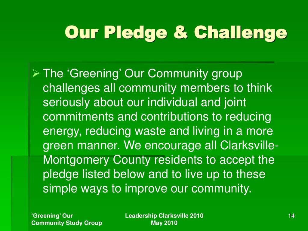 Our Pledge & Challenge