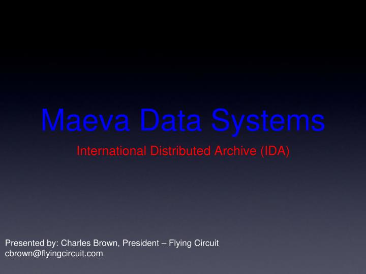 Maeva data systems
