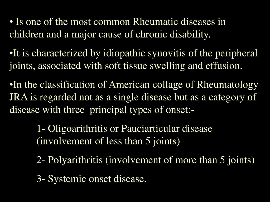 Is one of the most common Rheumatic diseases in children and a major cause of chronic disability.