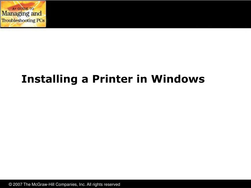 Installing a Printer in Windows