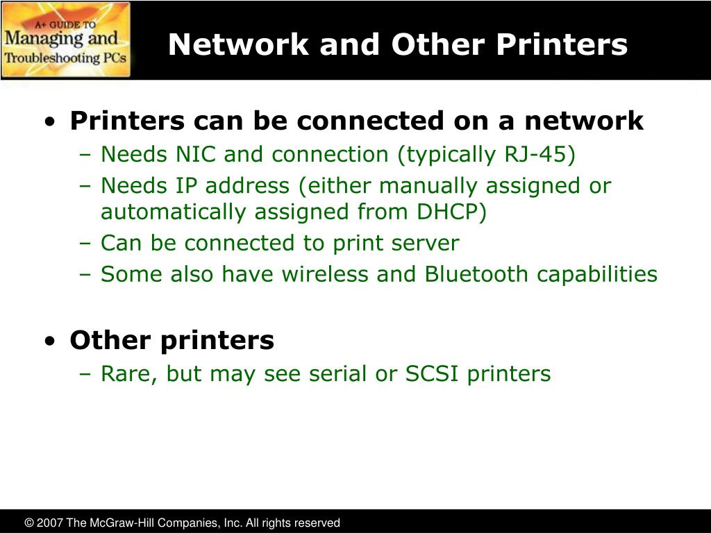 Network and Other Printers
