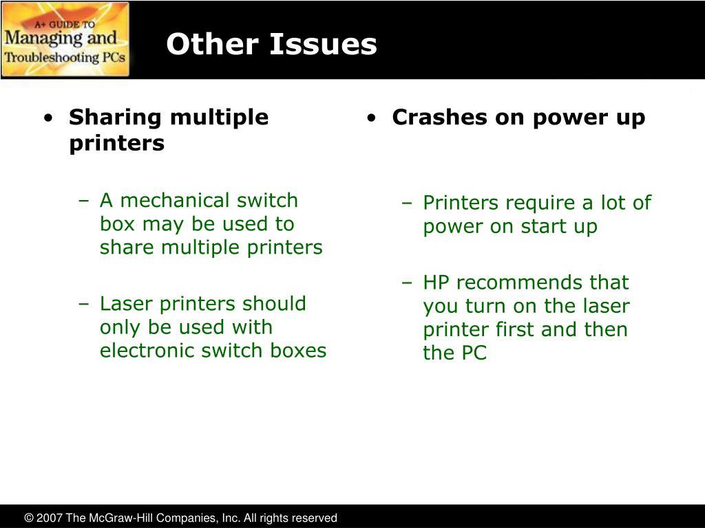 Sharing multiple printers