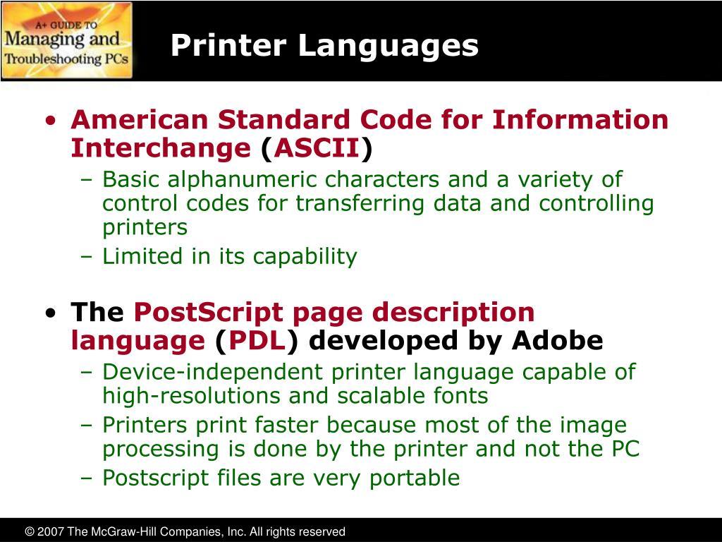 Printer Languages