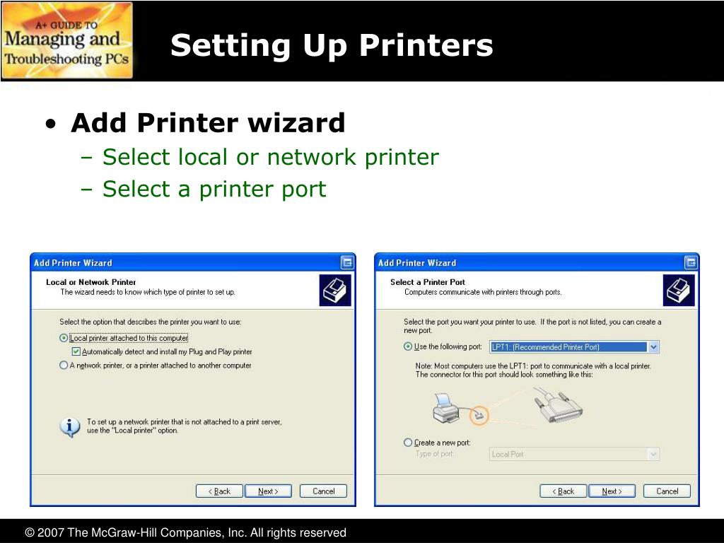 Setting Up Printers