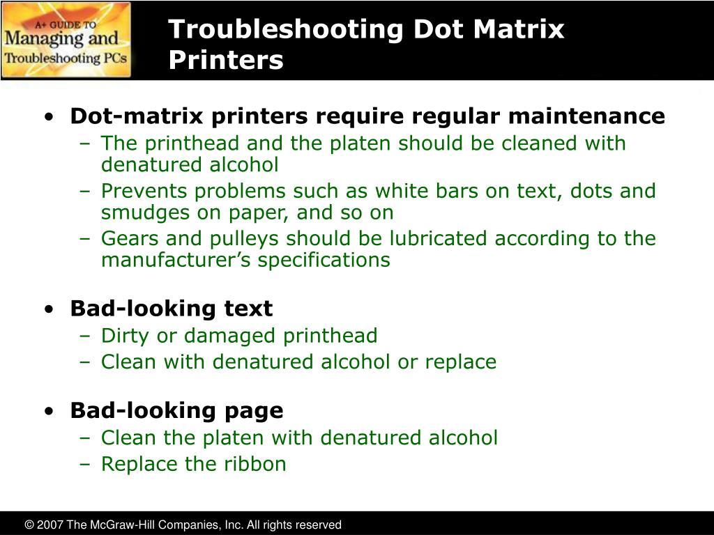 Troubleshooting Dot Matrix Printers