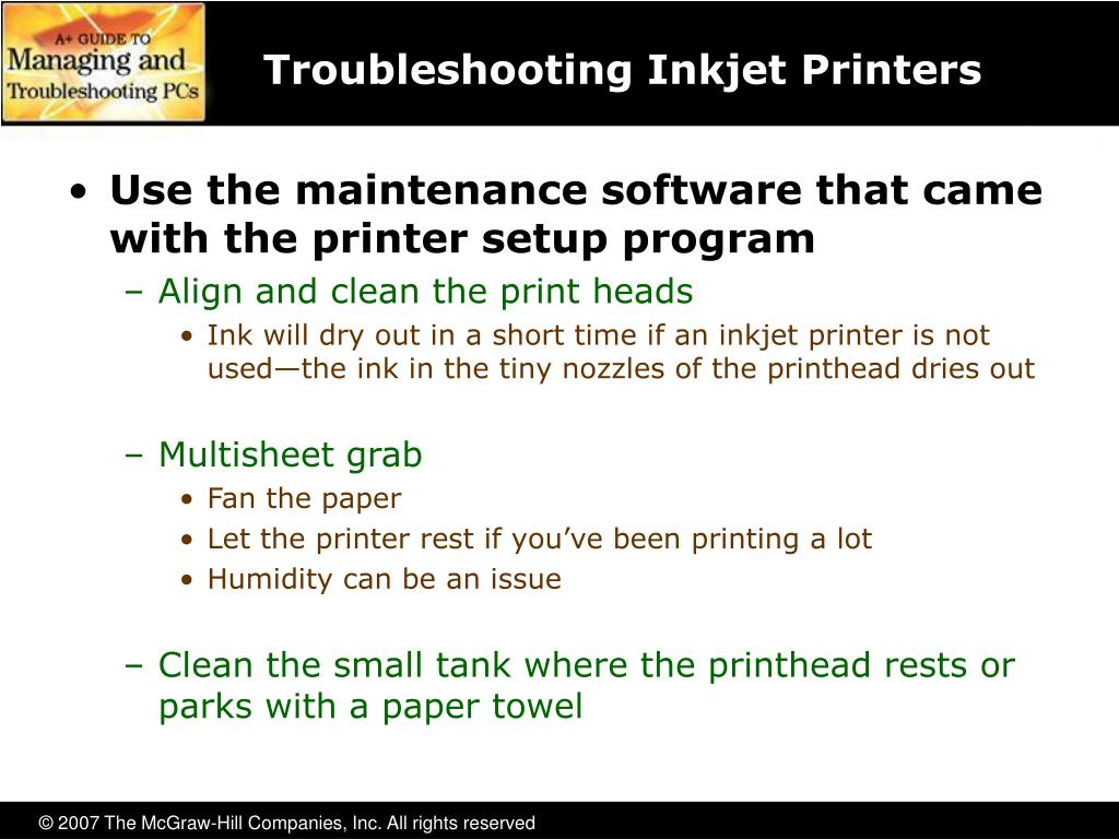 Troubleshooting Inkjet Printers