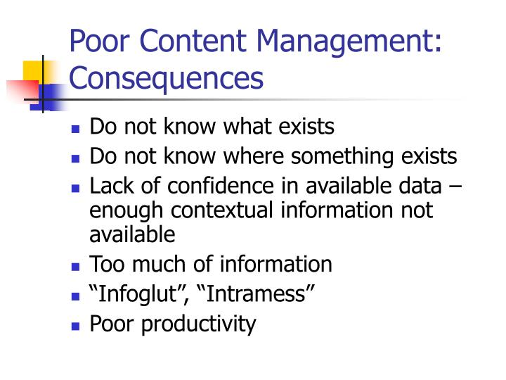 Poor Content Management: Consequences