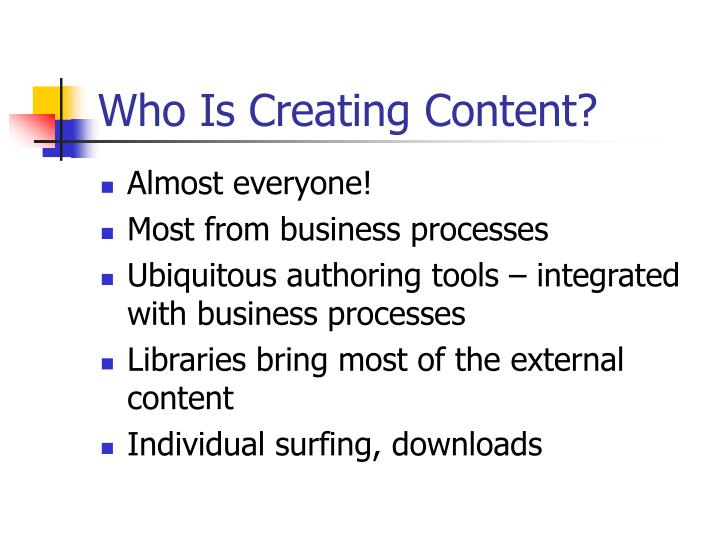 Who Is Creating Content?