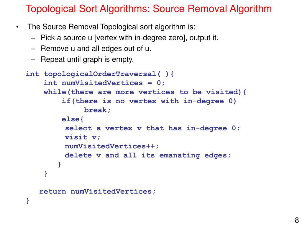 Topological Sort Algorithms: Source Removal Algorithm