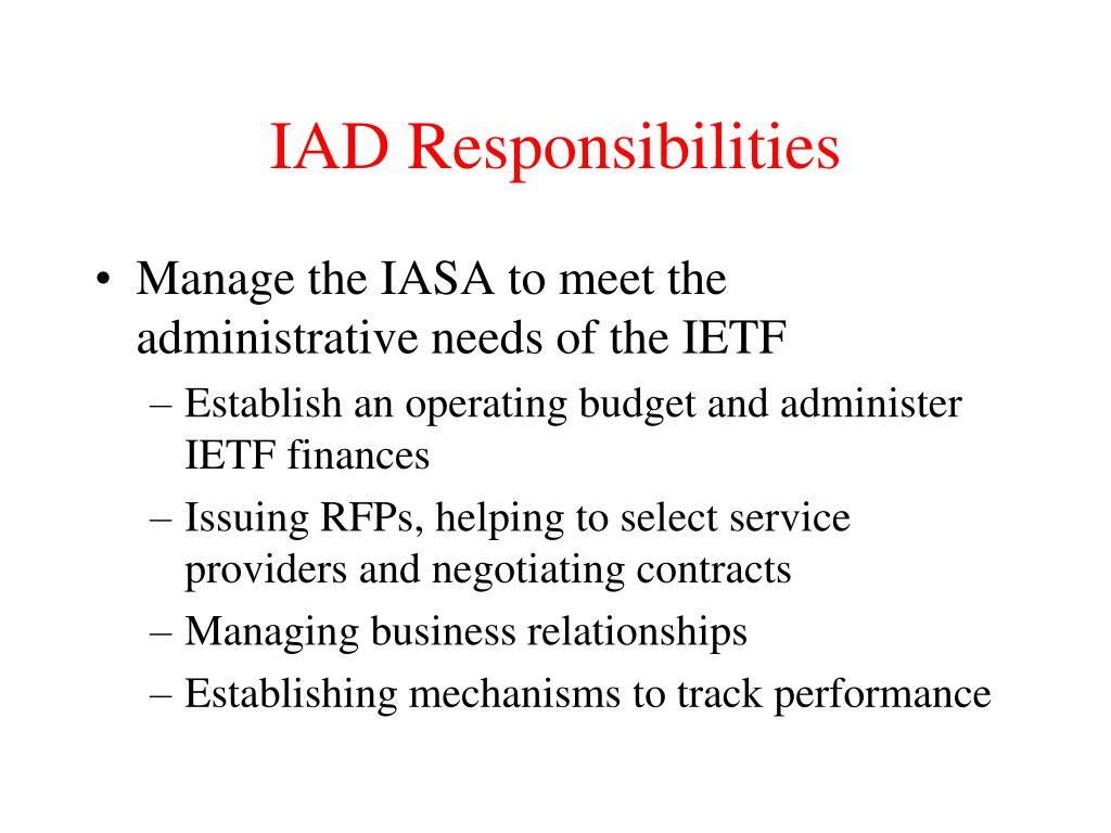 IAD Responsibilities