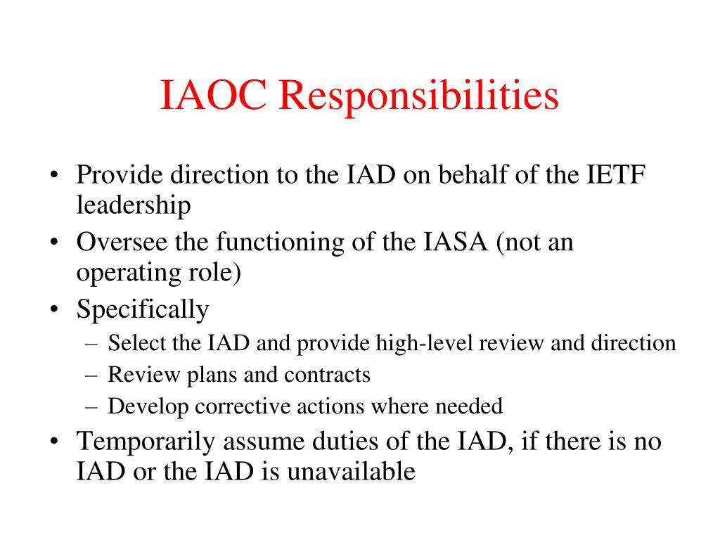 IAOC Responsibilities