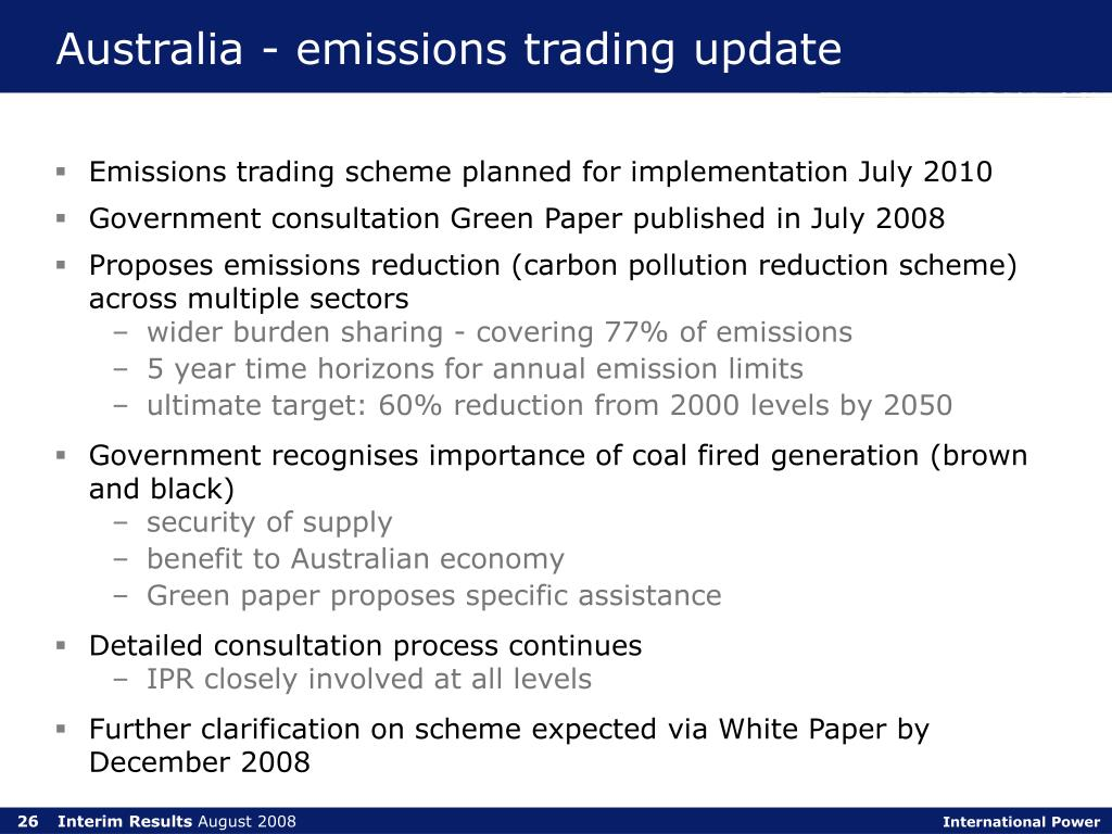 Australia - emissions trading update
