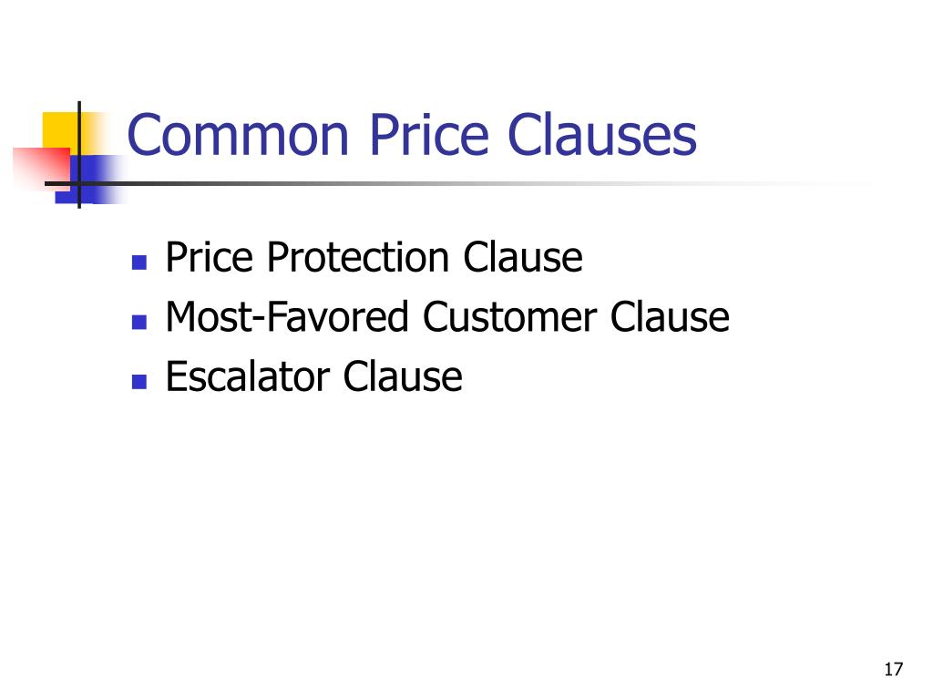 Common Price Clauses
