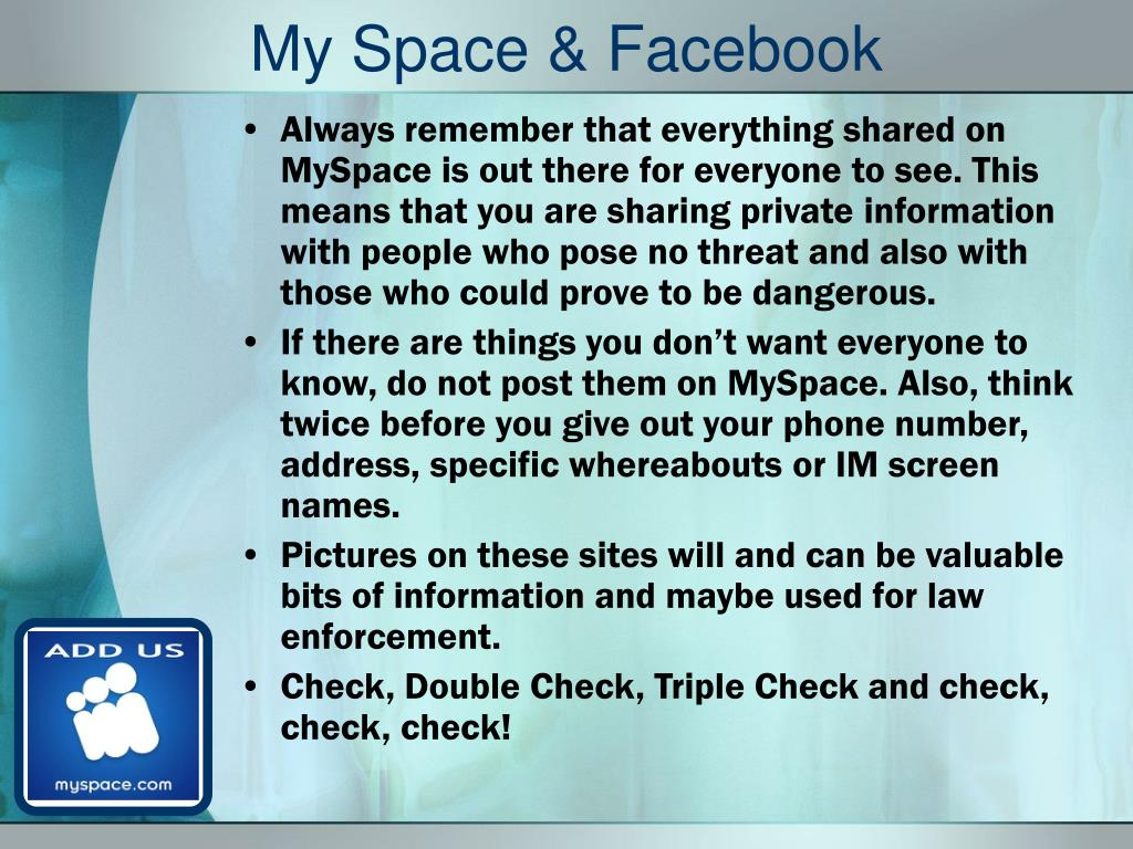 My Space & Facebook