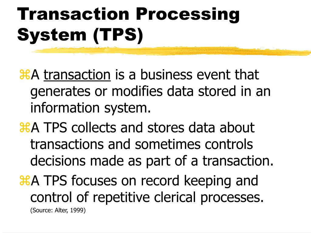 transaction processing system Transaction processing systems a transaction is an exchange of goods, services, and/or communication between two sides that has an effect on each side in the simplest case, a conversation.
