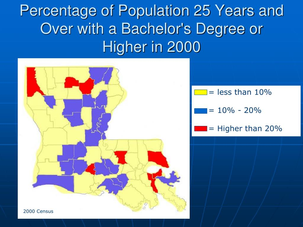 Percentage of Population 25 Years and Over with a Bachelor's Degree or Higher in 2000